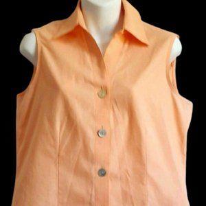 Foxcroft Sleeveless Shirt Peach Non Iron Buttons